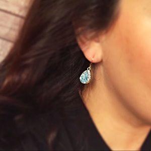 Teardrop blue druzy rock crystal earrings